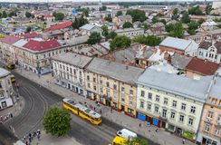 Luchtmening van Lviv, de Oekraïne royalty-vrije stock fotografie
