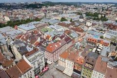 Luchtmening van Lviv, de Oekraïne royalty-vrije stock foto's