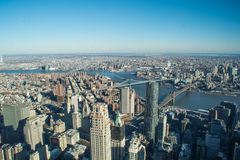 Luchtmening van Manhattan de stad in Stock Fotografie