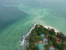 Luchtmening van Manukan-Eiland Sabah, Maleisië Duidelijke groene oceaan Het Manukaneiland is het meest bezochte eiland in Sabah H Royalty-vrije Stock Foto