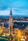 Luchtmening van Marienplatz in München Royalty-vrije Stock Afbeeldingen