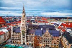 Luchtmening van Marienplatz in München Royalty-vrije Stock Fotografie