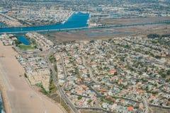 Luchtmening van Marina Del Rey en Playa Del Rey stock afbeeldingen