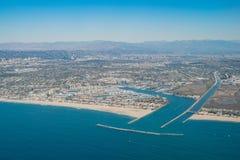 Luchtmening van Marina Del Rey en Playa Del Rey stock afbeelding