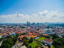 Luchtmening van Melaka-Stad Royalty-vrije Stock Foto