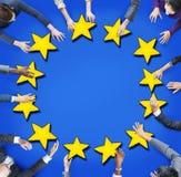 Luchtmening van Mensen en Europese Unie Vlag Stock Afbeelding