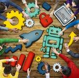 Luchtmening van Mensen en Technologieconcepten Stock Foto