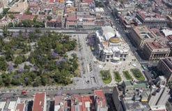 Luchtmening van Mexico-City met bellas artes en alameda Stock Foto's