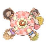 Luchtmening van moeder dienende cake aan een groep kinderen - witte achtergrond vector illustratie