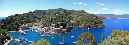 Luchtmening van Mooie Portofino, Italië Royalty-vrije Stock Foto's
