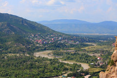 Luchtmening van Mtskheta, stad met velen Stock Foto's