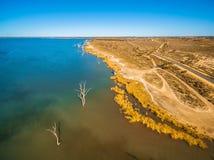 Luchtmening van naakte bomen in wateren van Meer Bonnie royalty-vrije stock foto's