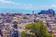 Luchtmening van Nieuwe vesting Kerkyra, het eiland van Korfu, Griekenland Royalty-vrije Stock Afbeeldingen