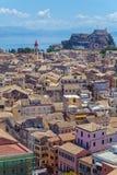 Luchtmening van Nieuwe vesting Kerkyra, het eiland van Korfu, Griekenland Stock Foto's