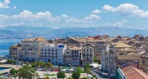 Luchtmening van Nieuwe vesting Kerkyra, het eiland van Korfu, Griekenland Royalty-vrije Stock Afbeelding