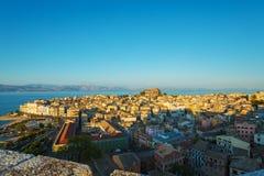 Luchtmening van Nieuwe vesting Kerkyra, het eiland van Korfu, Griekenland Royalty-vrije Stock Foto