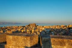 Luchtmening van Nieuwe vesting Kerkyra, het eiland van Korfu, Griekenland Royalty-vrije Stock Foto's