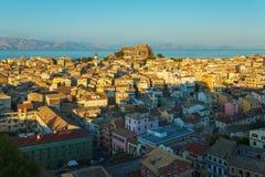 Luchtmening van Nieuwe vesting Kerkyra, het eiland van Korfu, Griekenland Royalty-vrije Stock Fotografie