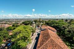 Luchtmening van Olinda en het Astronomische Waarnemingscentrum, Olinda, Pernambuco, Brazilië stock foto's