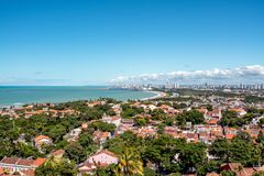 Luchtmening van Olinda en Recife in Pernambuco, Brazilië stock foto's