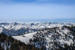 Luchtmening van Oostenrijkse Alpen in de Winter Royalty-vrije Stock Afbeelding