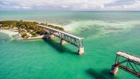 Luchtmening van Oude Bahia Honda Bridge, Florida royalty-vrije stock afbeelding