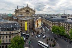 Luchtmening van Parijs met de operabouw Royalty-vrije Stock Foto