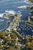 Luchtmening van Perkins Cove dichtbij Portland, Maine royalty-vrije stock afbeelding