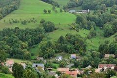 Luchtmening van plattelandsgebied in de Elzas stock foto