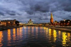 Luchtmening van populair oriëntatiepunt het Kremlin in Moskou, Rusland bij nacht royalty-vrije stock fotografie