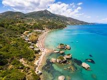 Luchtmening van Porto Zorro Azzurro strand in Zakynthos Zante Royalty-vrije Stock Foto