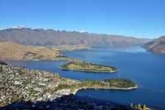 Luchtmening van Queenstown, Nieuw Zeeland stock foto