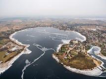 Luchtmening van Rajgrodzkie-Meer, Kasteelberg en Rajgrod Royalty-vrije Stock Foto
