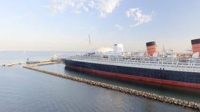 Luchtmening van RMS Queen Mary lijnboot, Long Beach, CA Stock Foto