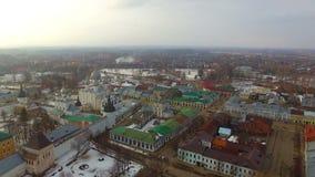Luchtmening van Rostov het Kremlin stock videobeelden