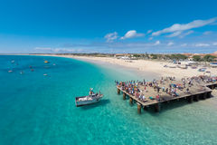 Luchtmening van Santa Maria-strand in Zout Kaapverdië - Cabo Verde royalty-vrije stock foto's