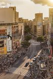 Luchtmening van Shibuya die Kruising voor Shi kruisen stock afbeelding