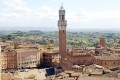 Luchtmening van Siena, Toscanië, Italië Stock Foto's
