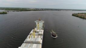 Luchtmening van Sleepboot en Aak de Rivier Philadelphia van Delaware Royalty-vrije Stock Fotografie