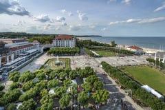 Luchtmening van Sopot, de bestemming van de toeristentoevlucht in Polen stock foto