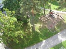 Luchtmening van speelplaats Stock Foto