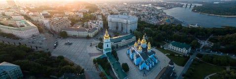 Luchtmening van St Michael ` s gouden-Overkoepeld Klooster in Kiev royalty-vrije stock foto