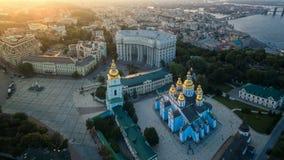 Luchtmening van St Michael ` s gouden-Overkoepeld Klooster in Kiev stock afbeelding