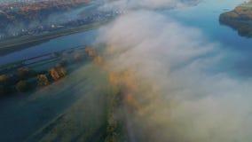 Luchtmening van stad in de ochtend stock footage