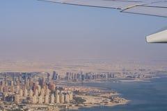 Luchtmening van stad Doha, hoofdstad van Qatar royalty-vrije stock foto