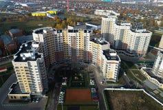 Luchtmening van stedelijke onroerende goederen in Kutuzovo-district stock foto