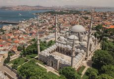Luchtmening van Suleymaniye-Moskee royalty-vrije stock afbeelding