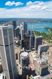 Luchtmening van Sydney CBD en Sydney Harbour stock afbeeldingen