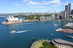 Luchtmening van Sydney Circular Quay in Sydney New South Wales Au royalty-vrije stock foto's