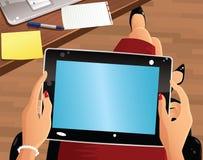 Luchtmening van tabletcomputer Stock Foto